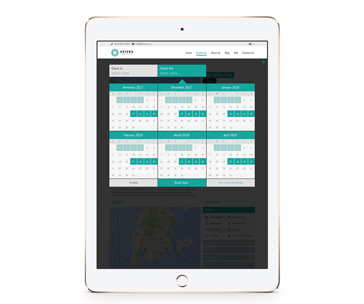 365villas Availability Calendar on an ipad