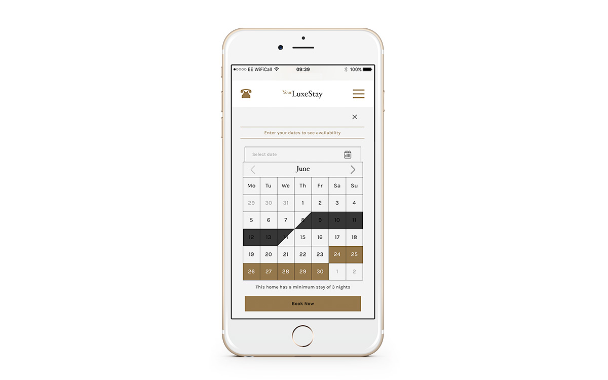 example of online booking on an iphone 6 feature