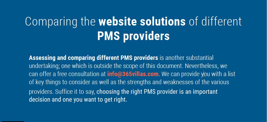 compare website pms providers